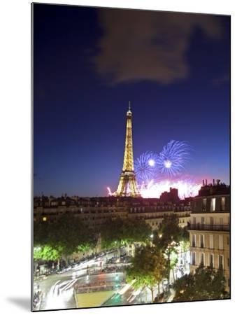 Bastille Day Fireworks, Eiffel Tower, Paris, France-Jon Arnold-Mounted Photographic Print
