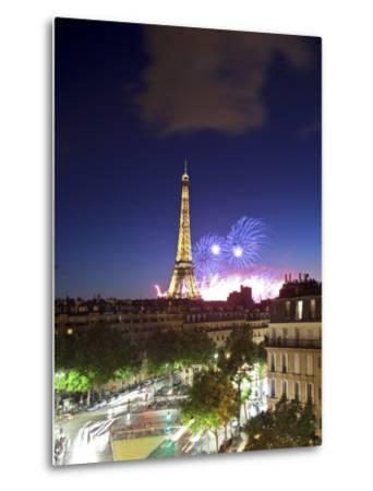 Bastille Day Fireworks, Eiffel Tower, Paris, France-Jon Arnold-Metal Print