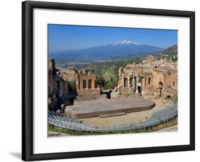 The Greek Theatre and Mount Etna, Taormina, Sicily, Italy-Peter Adams-Framed Photographic Print