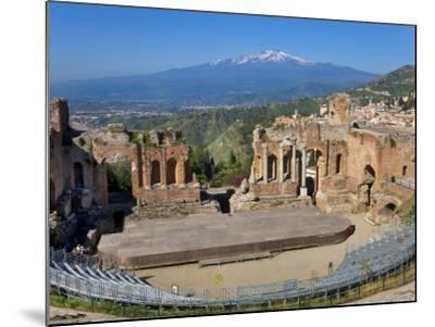 The Greek Theatre and Mount Etna, Taormina, Sicily, Italy-Peter Adams-Mounted Photographic Print