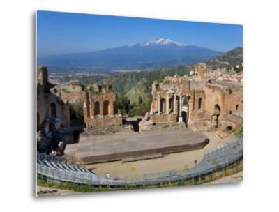 The Greek Theatre and Mount Etna, Taormina, Sicily, Italy-Peter Adams-Metal Print
