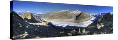 Switzerland, Valais, Jungfrau Region, Aletsch Glacier from Mt; Eggishorn (Unesco Site)-Michele Falzone-Stretched Canvas Print