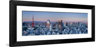 Tokyo Tower and Mt; Fuji from Shiodome, Tokyo, Japan-Jon Arnold-Framed Photographic Print
