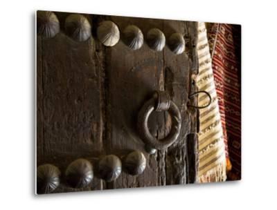 Door in the Old City of Fes, Morocco-Julian Love-Metal Print