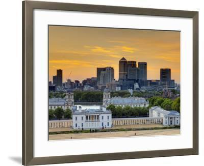 Uk, London, Greenwich, Greenwich Park, National Maritime Musuem and Canary Wharf-Alan Copson-Framed Photographic Print