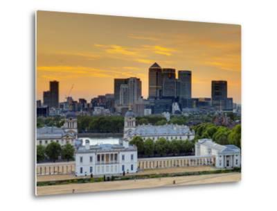 Uk, London, Greenwich, Greenwich Park, National Maritime Musuem and Canary Wharf-Alan Copson-Metal Print
