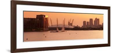 Uk, England, London, Royal Victoria Dock, Canary Wharf Skyline and O2 Arena (Millennium Dome)-Alan Copson-Framed Photographic Print