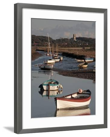England, Norfolk, Morston Quay; Rowing Boats and Sailing Dinghies at Low Tide-Will Gray-Framed Photographic Print