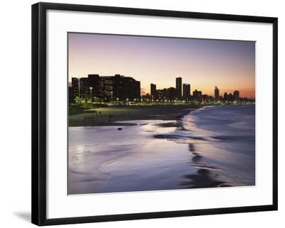 View of City Skyline and Beachfront at Sunset, Durban, Kwazulu-Natal, South Africa-Ian Trower-Framed Photographic Print