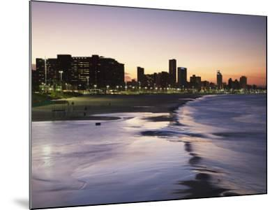 View of City Skyline and Beachfront at Sunset, Durban, Kwazulu-Natal, South Africa-Ian Trower-Mounted Photographic Print