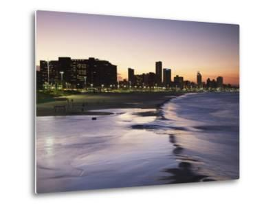 View of City Skyline and Beachfront at Sunset, Durban, Kwazulu-Natal, South Africa-Ian Trower-Metal Print