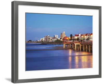 Summerstrand Beachfront at Dusk, Port Elizabeth, Eastern Cape, South Africa-Ian Trower-Framed Photographic Print