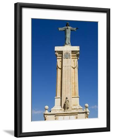 Spain, Menorca; Statue of Christ at Monte Toro, the Highest Point on the Island-John Warburton-lee-Framed Photographic Print