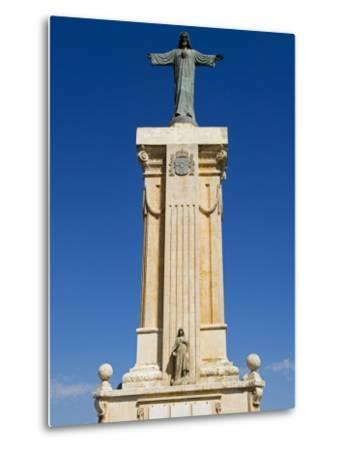 Spain, Menorca; Statue of Christ at Monte Toro, the Highest Point on the Island-John Warburton-lee-Metal Print
