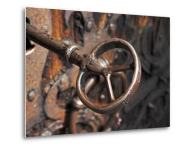 Sweden, Island of Gotland; a Antique Key and Lock Still in Use on the Medieval Church Door-Mark Hannaford-Metal Print