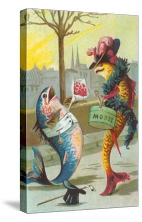Two Fashionable Fish Meet on the Street--Stretched Canvas Print