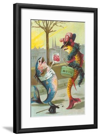 Two Fashionable Fish Meet on the Street--Framed Art Print