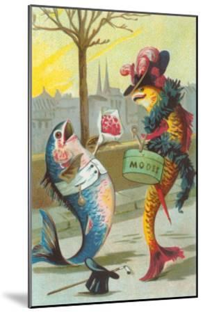 Two Fashionable Fish Meet on the Street--Mounted Art Print