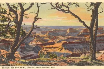 Sunset from Hopi Point, Grand Canyon--Stretched Canvas Print