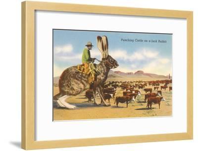 Man Herding Cattle from Giant Jack Rabbit--Framed Art Print