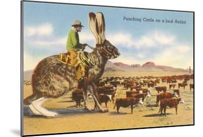 Man Herding Cattle from Giant Jack Rabbit--Mounted Art Print