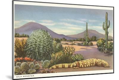Gila Monster and Cacti--Mounted Art Print