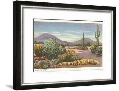 Gila Monster and Cacti--Framed Art Print