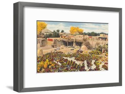 Ears of Corn Drying in Adobe Courtyard--Framed Art Print