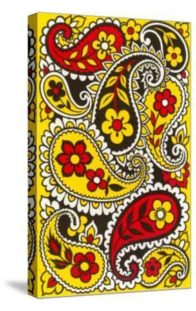 Psychedelic Paisleys, Yellow and Red--Stretched Canvas Print