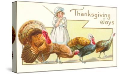 Joys, Girl Herding Turkeys--Stretched Canvas Print