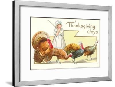 Joys, Girl Herding Turkeys--Framed Art Print