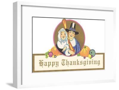 Smiling Pilgrim Couple--Framed Art Print