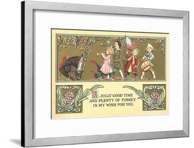 Thanksgiving Greetings, Children Marching Behind Turkey--Framed Art Print