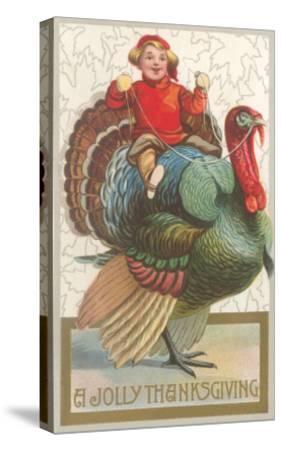 Jolly Thanksgiving, Boy Riding Turkey--Stretched Canvas Print