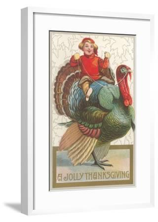 Jolly Thanksgiving, Boy Riding Turkey--Framed Art Print