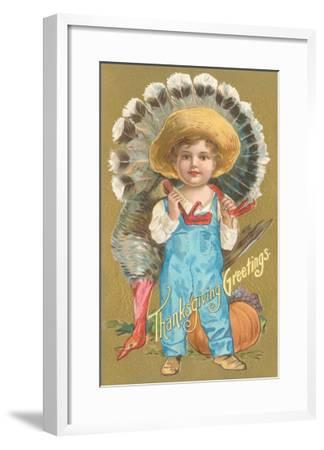Thanksgiving Greetings, Farmer Boy with Turkey--Framed Art Print