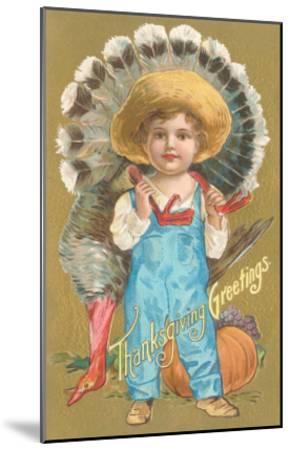 Thanksgiving Greetings, Farmer Boy with Turkey--Mounted Art Print