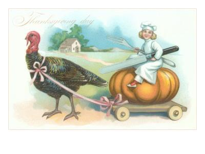 Little Chef Riding Turkey Carriage--Framed Art Print