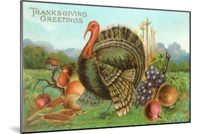 Thanksgiving Greetings, Turkey with Fruits--Mounted Art Print