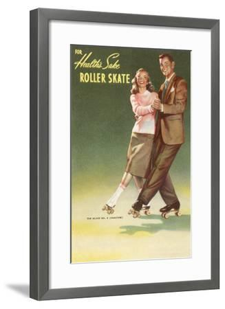 Roller Skating Couple--Framed Art Print