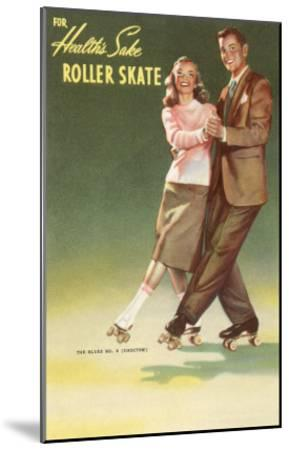 Roller Skating Couple--Mounted Art Print