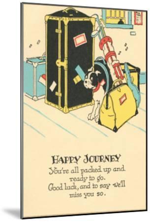 Crying Dog Amid Luggage, Happy Journey--Mounted Art Print