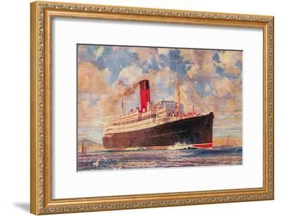 Ocean Liner with Clouds--Framed Art Print