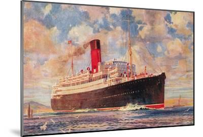 Ocean Liner with Clouds--Mounted Art Print