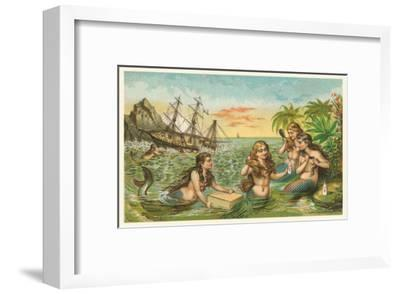 Shipwreck, Mermaids with Salvage--Framed Art Print
