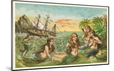 Shipwreck, Mermaids with Salvage--Mounted Art Print