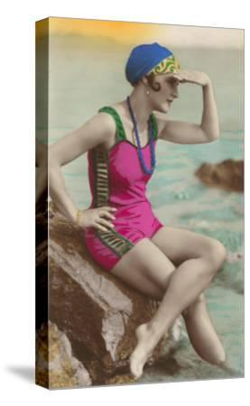 Old Fashioned Woman in Bathing Suit--Stretched Canvas Print