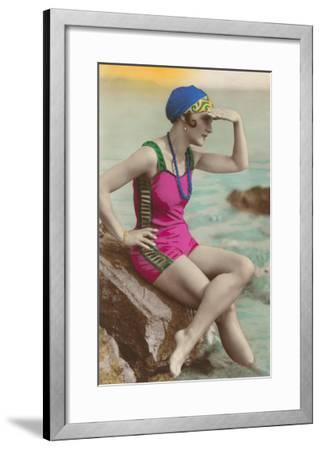 Old Fashioned Woman in Bathing Suit--Framed Art Print