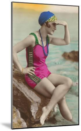 Old Fashioned Woman in Bathing Suit--Mounted Art Print