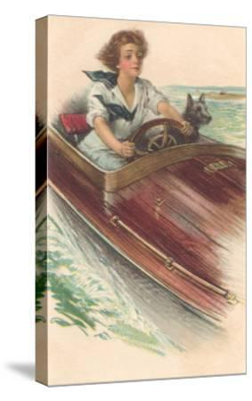 Girl in Motorboat with Terrier--Stretched Canvas Print